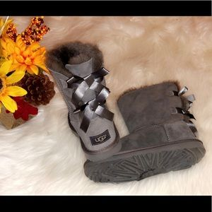 UGG Gray Suede Bailey Bow Boots